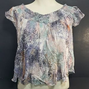 Aritzia Talula Short Sleeve Patterned Blouse